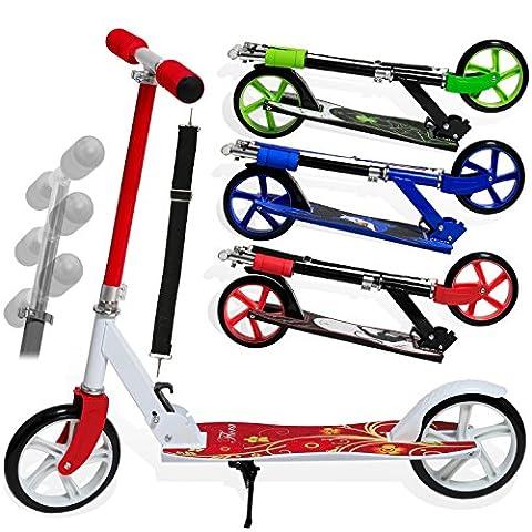 Kesser® Scooter Roller Cityroller Kinderroller Tretroller Kickroller Kickscooter, Kinder 205mm klappbar ABEC7 Kugellagern Design / Farbe:Flora (Red)