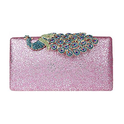 KAXIDY Damen Handtasche Clutch Glänzende Pfau-Kristall Buckle Damentasche Tasche Abend Handtasche Abendtasche (Schwarz) Pink