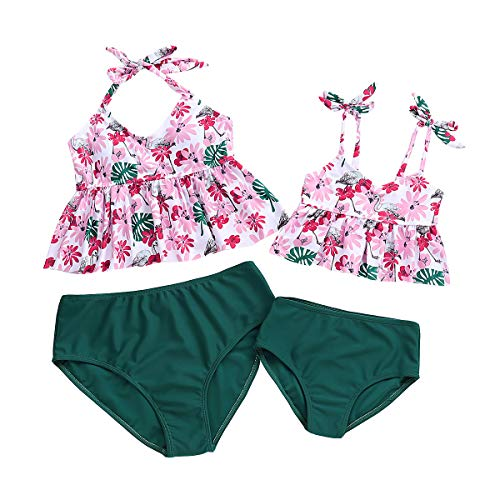 Traje de Baño Bikini Madre e Hija 2 Pieza Bañador Cintura Alta Imprimiendo Primavera Verano Conjunto...