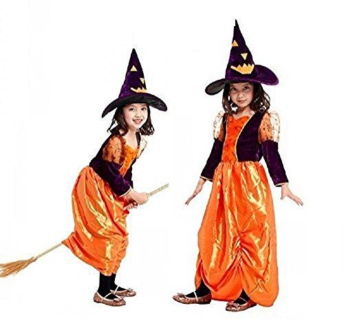 Jahre - Kostüm Verkleidung Karneval und Halloween von Hexe Vettel Zauberin Farbe Orange Lila weibliches Kind (Zauberin Kostüm Ideen)