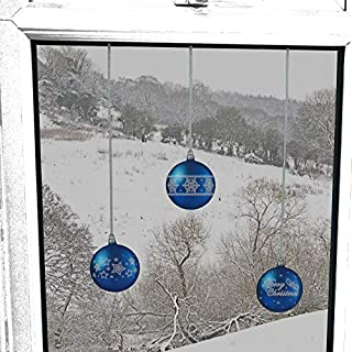 ArtiClings 12 x Bauble Window Clings with Glitter Patterns and Strings Colour = Blue