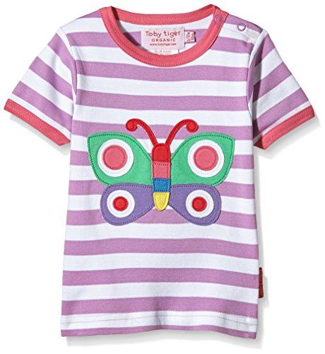 Butterfly Bio-kinder-t-shirt (Toby Tiger Mädchen Kurzarm Shirt Short Sleeve Butterfly Applique T, Violett (Purple/Pink/Green/Red) 5-6 Jahre (Herstellergröße: 116 cm))