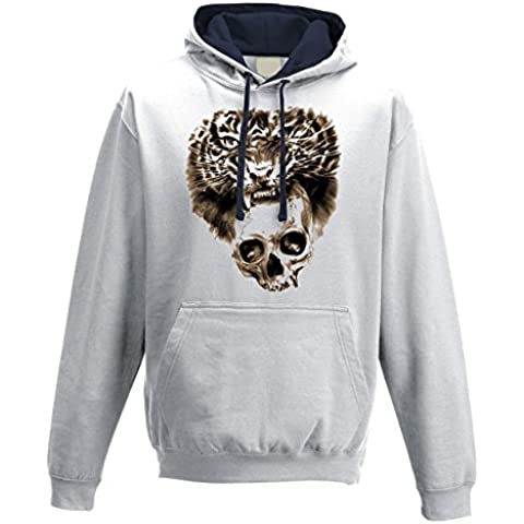 Felpa cappuccio uomo Double color Skull Tiger White M