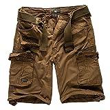 Geographical Norway Cargo Pantaloncini Pantaloncini Corti Bermuda con Cintura Breve Hunter IM Bundle con UD Bandana - Kaki, 3XL