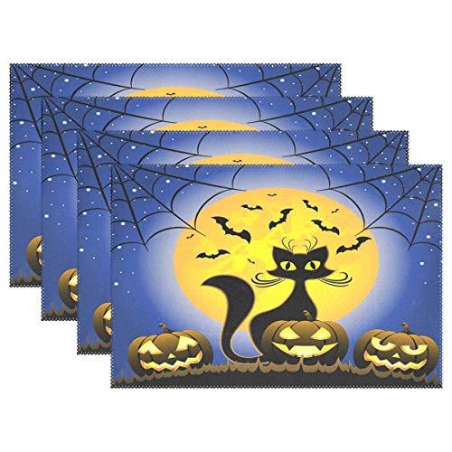 n für Esstisch, Motiv: Katze Halloween, Kürbisse, Mond, 4 Stück, waschbar, hitzebeständig, schmutzabweisend, rutschfest, 30,5 x 45,7 cm, leicht zu reinigen ()