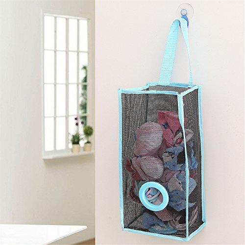 VANKER malla bolsa de plástico soporte y dispensador de basura bolsa de residuos para cocina organizador de almacenamiento (azul)