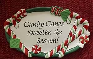 """Fitz & Floyd """"Candy Canes Adoucir la saison. Menthe Poivrée Santa sentiment Plateau"""