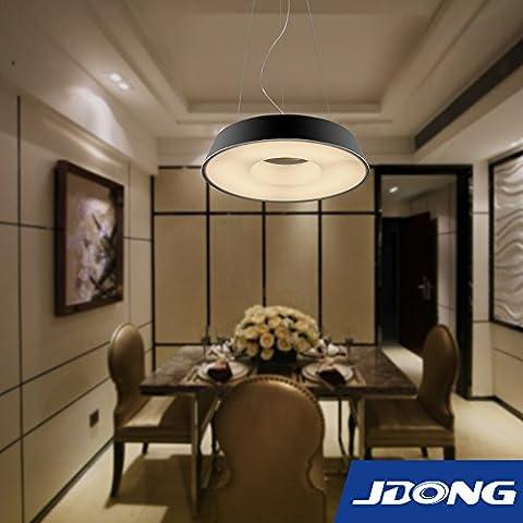 jdong Futuris tavoli lampadario lampadario LED 18W Round Modern PLAFONIERA nero opaco, lampada soggiorno cucina camera (Nero)