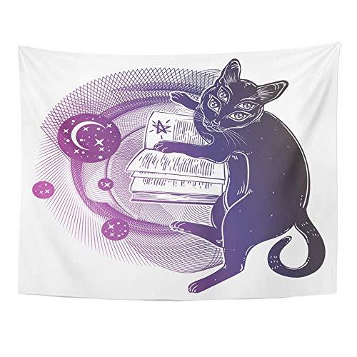 Tapisserie Polyester Stoff Print Home Decor Smart Black Boho Vier Augen Dämon Magic Cat Lesung der Necronomicon Buch Kätzchen Wandbehang Tapisserie für Wohnzimmer Schlafzimmer Schlafsaal