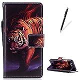 KaseHom Housse case for Huawei P10 Étui en cuir Coque [Gratuit Stylus Pen] Unique Premium PU Porte-monnaie avec carte de crédit Flip magnétique Antichoc-tigre