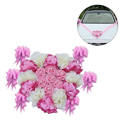 winomo Kunstblume für die Blumen-Deko Hochzeit künstlichen für die Dekorationen Hochzeit Der Blumen in Herzform mit Blumen von Bogenschießen (Rosa)