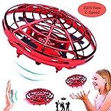 Taipow Mini UFO Drone Flying Jouets pour Enfants, Débutant RC Hélicoptères Quadcopter Drone de Poche Mouvement Main contrôlée Drone avec Lumière LED Cadeaux pour Enfants - Rouge
