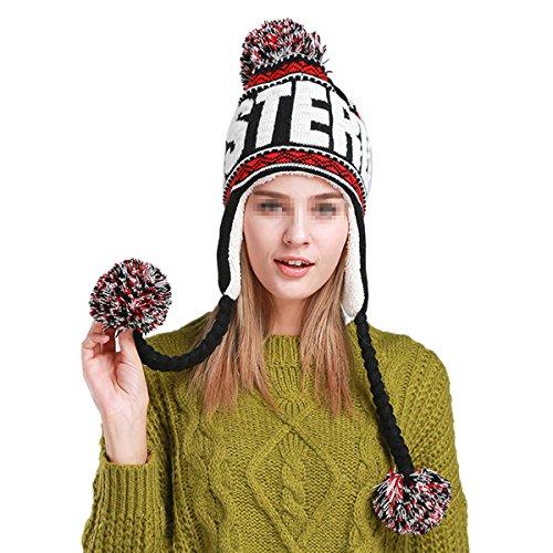 Butterme Donna Inverno Cappello Meteo Cold maglieria calda lana con morbida fodera pile Pom Pom cappello con paraorecchie