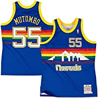 Mitchell & Ness dikembe mutombo # 55 Denver Nuggets 1991 – 92 Swingman NBA Camiseta Azul