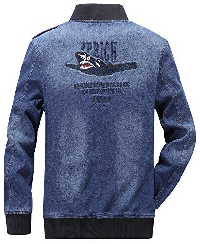 YYZYY Homme Classique militaire Air force Flight Jeans veste Denim Blousons Manteaux Mens Jacket Gris