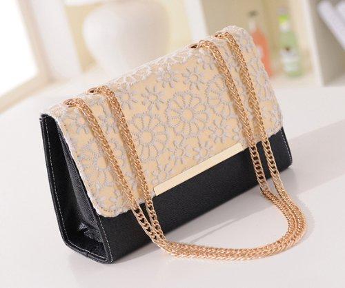 Frau Lady Tonwhar koreanischer Stil, Handtasche, Schultertasche, Umhängetasche, mit Kette schwarz