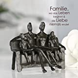 Casablanca - Dekofigur, Figur, Skulptur - Sitting Family, Familie auf Bank - Eisen brüniert - 12 cm