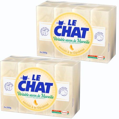 Le Chat - Véritable Savon de Marseille - Savon d'entretien - Glycérine - Pain de Savon 4 x 200 g - Lot de 2