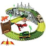 XLM Pista de Carreras Circuito Coches con Dinosaurio Electrico Vehículo Juguete para Niños