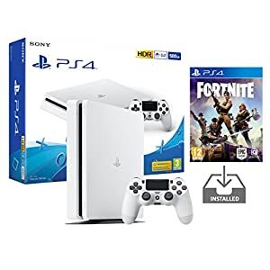 PS4 Slim Playstation 4 Konsole weiß Pack + Fortnite: Battle Royale [Vorinstalliert]