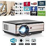 CAIWEI 1080p Wireless Video Projector 4000 Lumens 1024x768 HD Home Theater Digital LCD