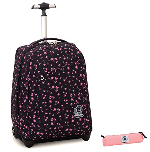 Trolley invicta + portapenne - nero rosa - spallacci a scomparsa! zaino 35 lt scuola e viaggio