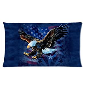 USA American Flag Eagle Navy Blue Custom Rectangle Bed Pillow Cases 20x36 (Twin sides)