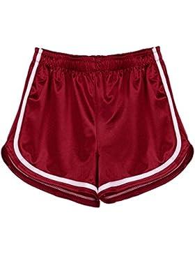 DOGZI Mujer Color Sólido Cintura Alta Pantalones Cortos Pantalones Anchos Alto Pantalón Yoga Jogging Deportivos