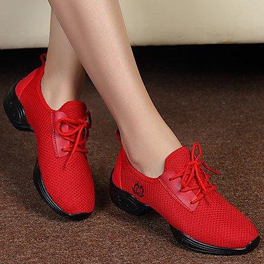 Damen Tanzschuhe Stoff Stoff Modern Heels Sneakers Kubanische Ferse Performance Schwarz Rot Weiß Ruby