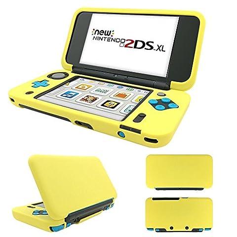 New Nintendo 2DS XL coque, MaxKu Ultra Slim Coque De Protection Housse Étui en silicone skin cover pour Nintendo New 2DS XL (Jaune)