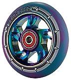 1 x Team Dogz 100mm Arco iris Espiral Aleación Patinete De Acrobacias Rueda Con Mezclado 88A PU Caucho Y Cromo De Neo Oil Slick Chorro Combustible Núcleo - Azul & Morado PU