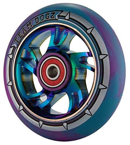 1-x-team-dogz-100mm-rainbow-swirl-alloy-stunt-scooter-wheel-with-mixed-88a-pu-rubber-and-neo-chrome-