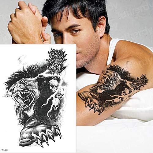 HXMAN Löwe Temporäre Tattoo Mann Arm Tattoo Körper Tattoo Schwalbe Pfoten Tato Schwarz Gefälschte Tatto Für Mann Schädel Halloween Tattoo Boy (2 Packungen) TH401