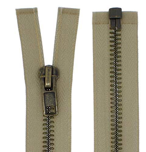FIM Reißverschluss Metall Grob Nr. 8 Brüniert Teilbar für Lederjacken usw. Farbe: 3 - Mittelbeige(308), 75cm lang