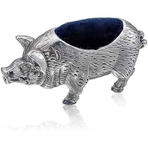 Collezione stile vittoriano Pig Pin Cuscino in argento Sterling 925Hallmarked