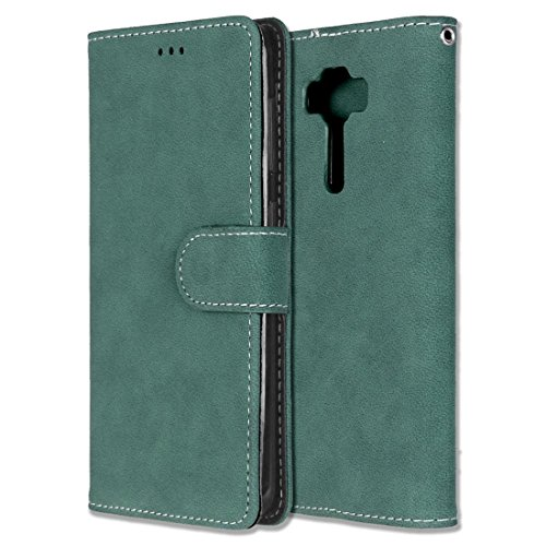 Chreey Asus Zenfone 3 Deluxe 5.5 ZS550KL Hülle, Matt Leder Tasche Retro Handyhülle Magnet Flip Case mit Kartenfach Geldbörse Schutzhülle Etui [Grün]