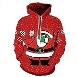 SEWORLD Weihnachten Sweatshirt Kapuzenpulli im Freien Damen Langarm Warmer mit Kapuze Sport Lose Drucken Outwear Pullover Tops Bluse(X2-rot,EU-46/CN-L/XL)
