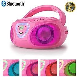 Lauson Radio CD avec Lecteur MP3 Bluetooth | USB Port | Lecteur CD Portable pour Enfants | Effet Disco Lumière LED pour Plus d'amusement et de Divertissement de Tous | CP453 (Rose)