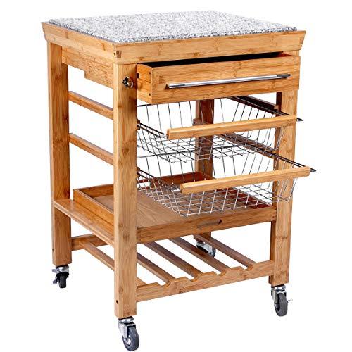 Butlers Rolling Stone Servierwagen - Küchenrollwagen mit Granit Arbeitsplatte - Natur Bambus - Rollwagen Höhe 92 cm