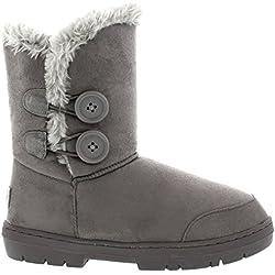 Mujeres Doble Button totalmente alineada botas piel impermeable de la nieve del invierno - Gris - 5