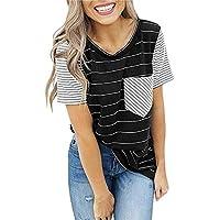 Camiseta Manga Corta Mujer Primavera Y Verano Rayas Bolsillo Costura Camisa Inferior