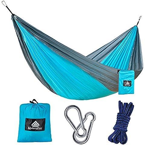 NatureFun Hamaca 100% de Nailon de Paracaídas, Portátil, Ultra Ligera, ideal para viajes de mochila, Acampada, Caza, Playa o Jardín