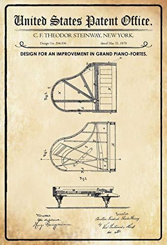 Blechschild Patent Entwurf für EIN Klavier-Steinway Grand Metallschild tin Sign (Steinway Klavier)