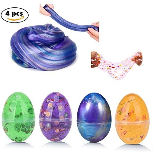 Fluffy Slime,Worsendy 4 Stück Schlamm Spielzeug DIY Slime Kit Stress Relief Spielzeug Kein Borax und Non Toxic Scented für Kinder und Erwachsene