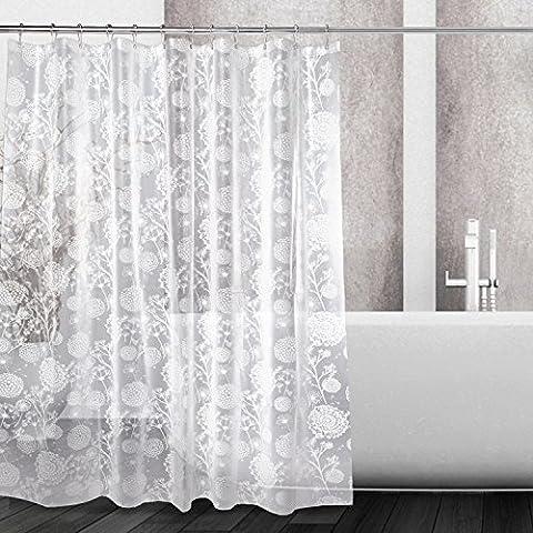 kilokelvin Shower Curtains Liner Dandelion Design Heavy Duty 100% PEVA Bathroom Curtain 72x72 Inch Mildew Proof Water proof Odorless Eco Friendly with Polished Metal Shower Hooks 12 Rings (Dandelion)