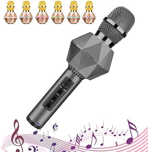 Xndz Verbessertes drahtloses Bluetooth-Karaoke-Mikrofon mit Dual-Sing, LED-Leuchten, tragbarer Handheld-Mikrofon-Lautsprecher-Maschinen-Ostergeschenk für iPhone/Android/PC/Outdoor/Geburtstag /