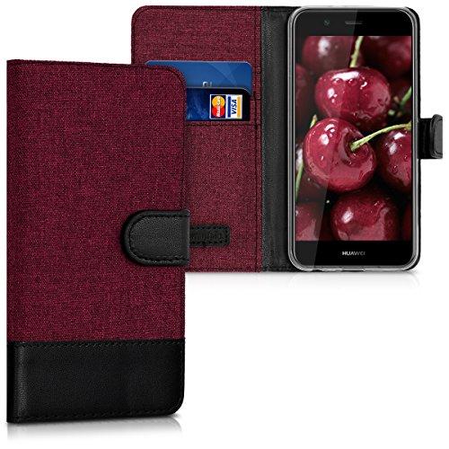 kwmobile Huawei Nova 2 Hülle - Kunstleder Wallet Case für Huawei Nova 2 mit Kartenfächern & Stand - Dunkelrot Schwarz