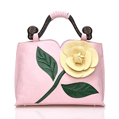 Wtus Ladies Classic Vintage Rose Tridimensionali Grandi Fiori Borsa Hit Colore Legno Portatile Borse Spalla Messenger Intagliata Custodia Rosa