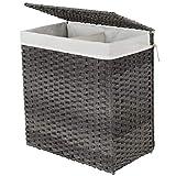 SONGMICS Wäschekorb handgeflochten, Wäschesammler aus synthetischem Rattan, mit Deckel und Griffen,...