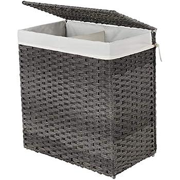 SONGMICS Wäschekorb handgeflochten, Wäschesammler aus